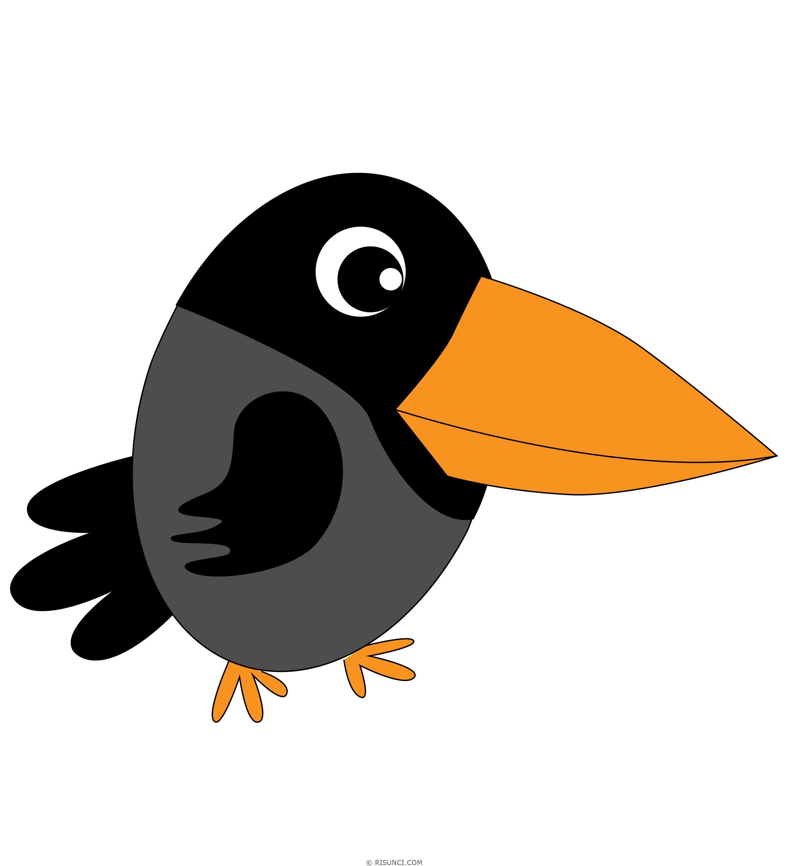 Ворона картинка для детей нарисованные цветные