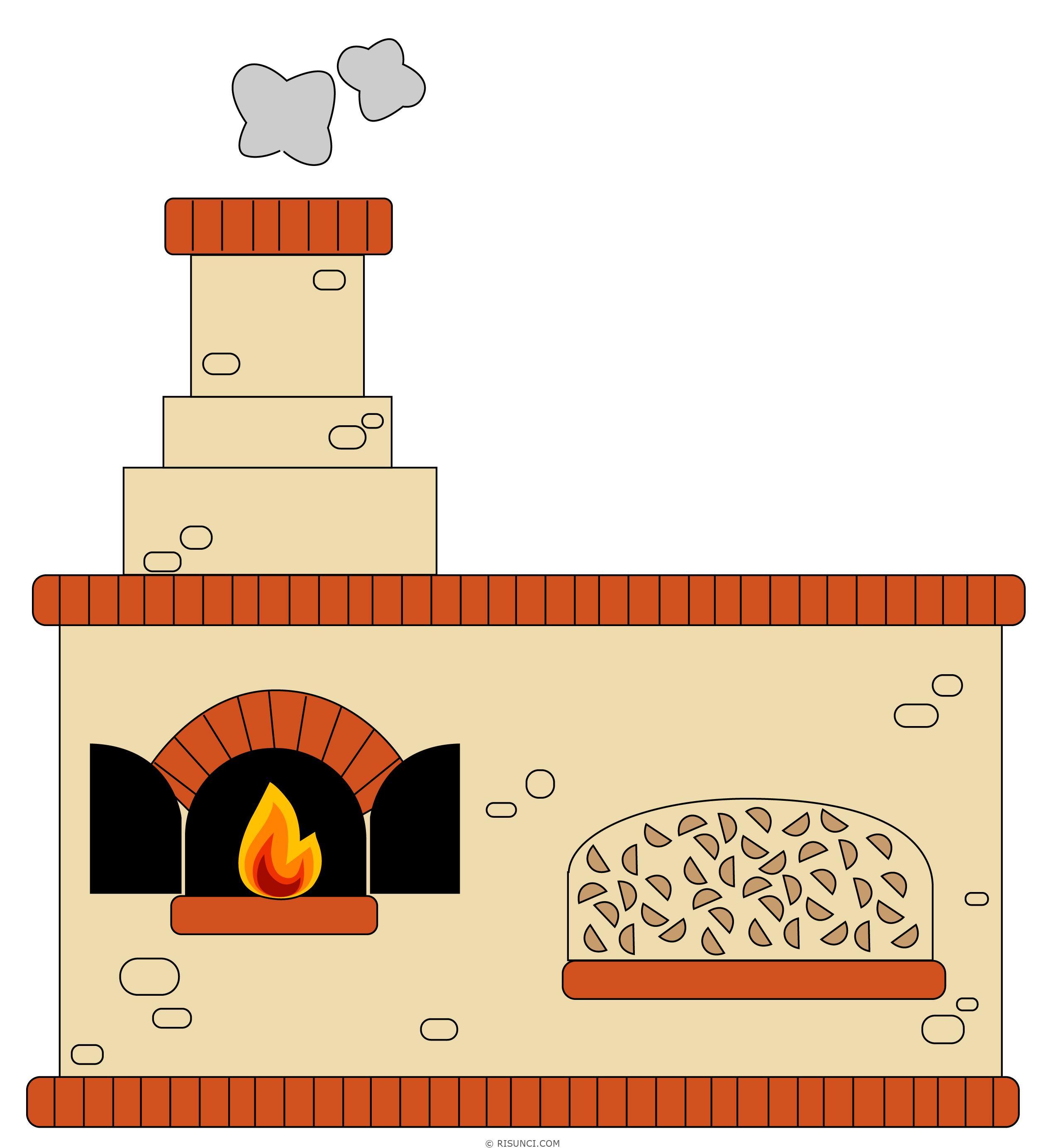 Картинка нарисованная печка для детей
