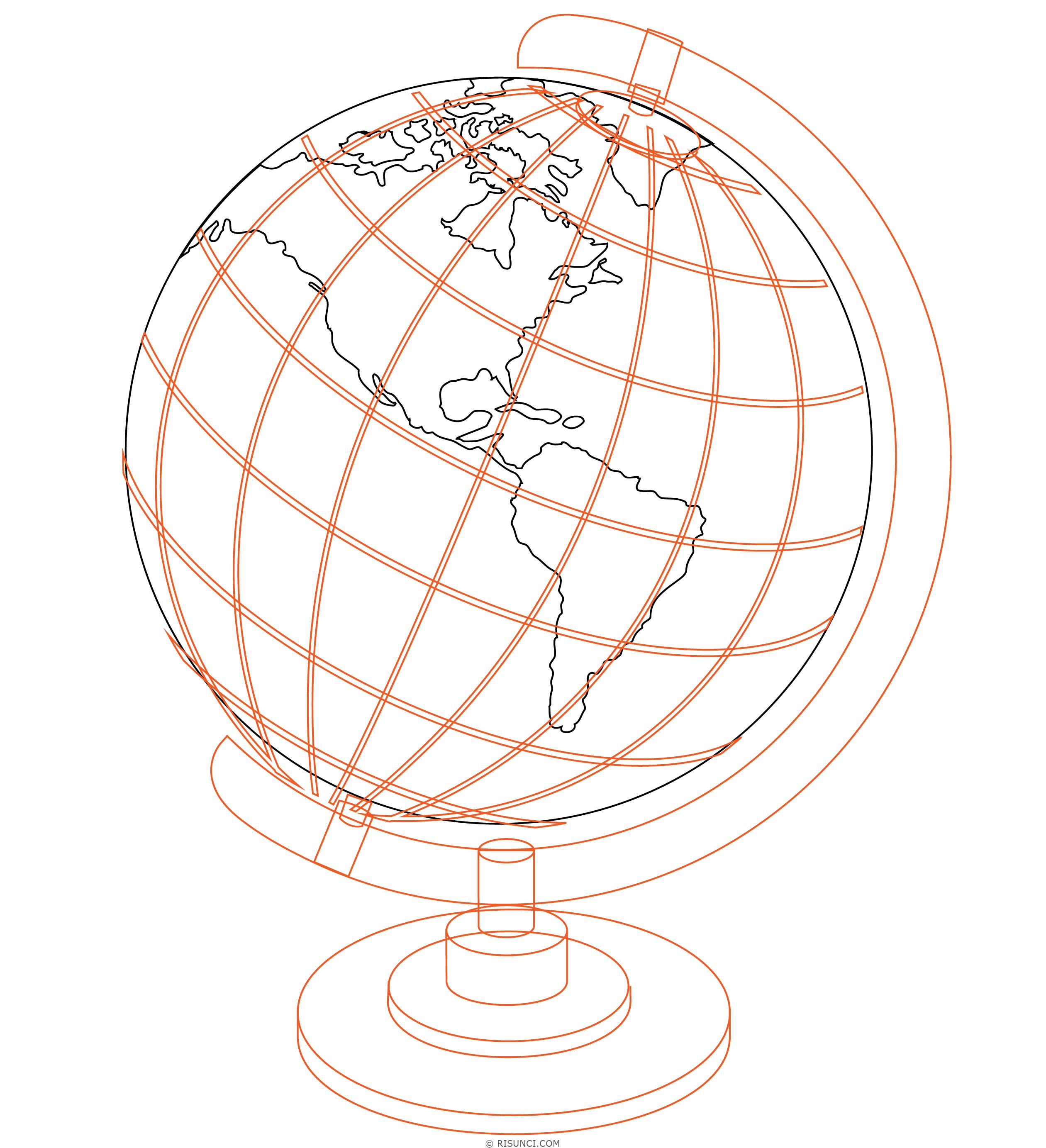 картинка глобуса рисовать функционирования лучевой разводки