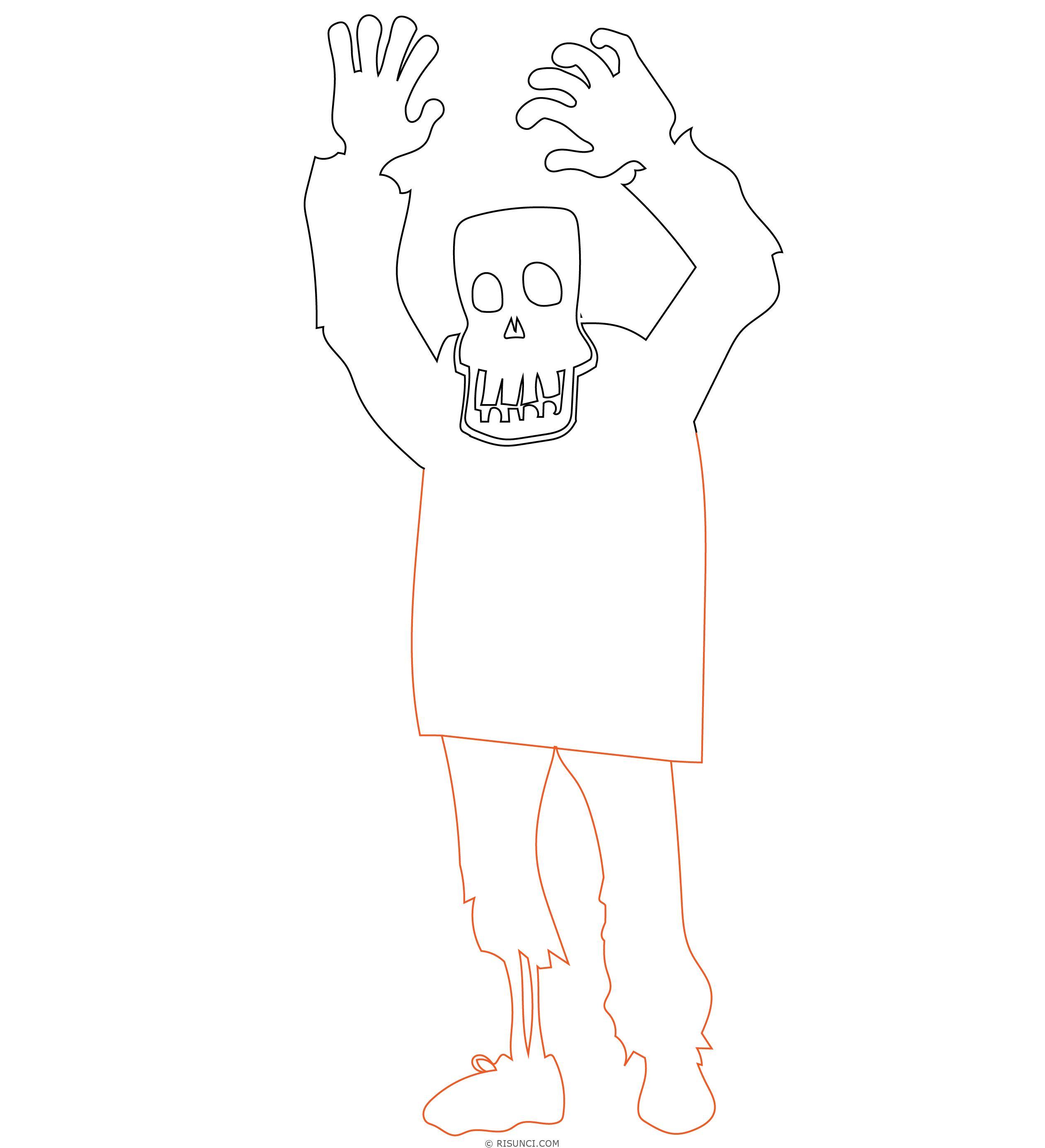 Нарисованные картинки зомби поэтапно