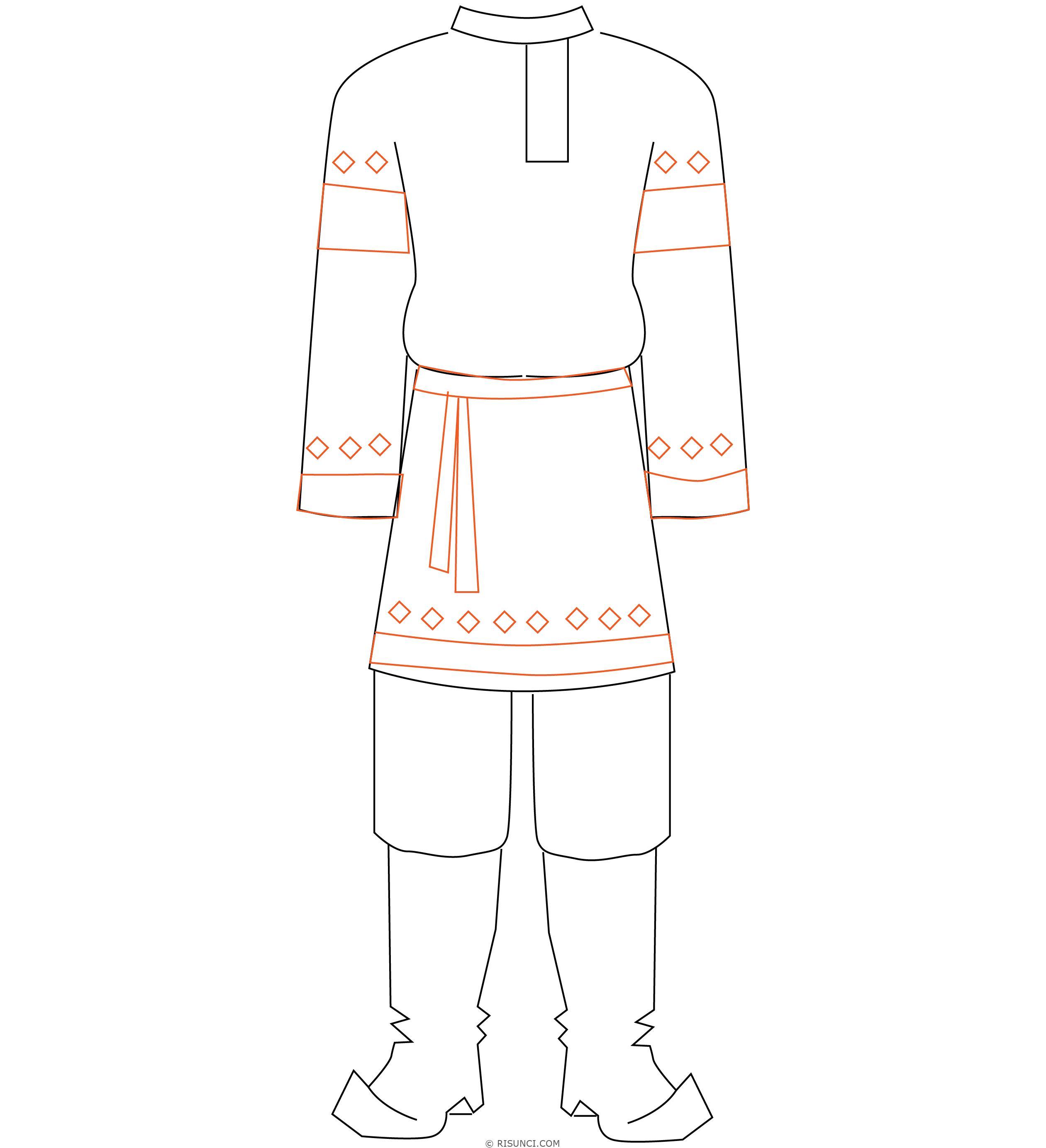 русские народные костюмы рисунки карандашом
